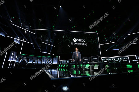 Phil Spencer, Head of Gaming at Microsoft, opens the Xbox E3 2018 Briefing at Microsoft Theater on in Los Angeles