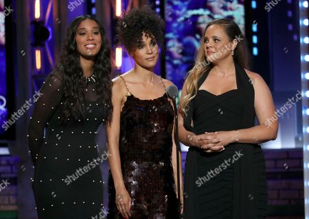 """Stock Picture of Amanda Sudano, Brooklyn Sudano, Mimi Sommer. Amanda Sudano, from left, Brooklyn Sudano and Mimi Sommer introduce a performance by the cast of """"Summer: The Donna Summer Musical"""" at the 72nd annual Tony Awards at Radio City Music Hall, in New York"""