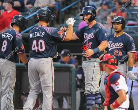 , 2018; Memphis, TN, USA; Reno teammates, Anthony Recker (40), and Kevin Cron (35), celebrate at homeplate after the 2nd Anthony Recker homerun of the night, during the Pacific Coast League Triple-A baseball game at Auto Zone Park. Reno defeated Memphis, 5-8
