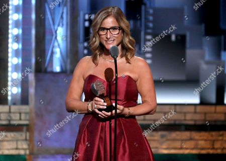 Stock Picture of Melody Herzfeld, drama teacher at Marjorie Stoneman Douglas High School, accepts the award for excellence in theatre education at the 72nd annual Tony Awards at Radio City Music Hall, in New York