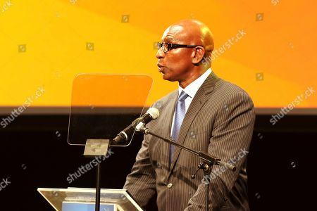 Eric Dickerson speaks at the Israeli Consulate in LA event to Celebrate the 70th Anniversary of Israel at Universal Studios, in Los Angeles