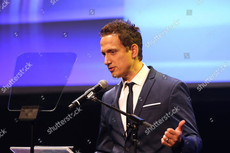 Elon Gold speaks at the Israeli Consulate in LA event to Celebrate the 70th Anniversary of Israel at Universal Studios, in Los Angeles
