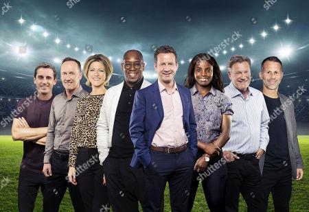 Gary Neville, Lee Dixon, Jacqui Oatley, Ian Wright, Mark Pougatch, Eniola Aluko, Glenn Hoddle and Ryan Giggs