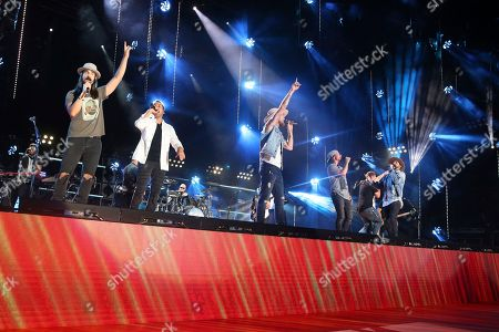 Kevin Richardson, Brian Kelley, Howie D., Brian Littrell, Nick Carter, AJ McClean. From left, artists Kevin Richardson of the Backstreet Boys, Brian Kelley of Florida Georgia Line, and Howie D., Brian Littrell, Nick Carter and AJ McClean of the Backstreet Boys perform at the 2018 CMA Music Festival at Nissan Stadium on in Nashville, Tenn