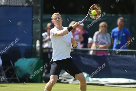 Edward Corrie (GBR) plays a shot during his Men's Singles qualifying final round loss to Tobias Kamke (GER) at the 2018 Nature Valley Open at Nottingham Tennis Centre, Nottingham. Picture by Katy Blackwood