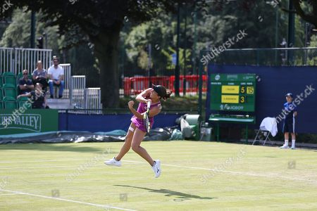 Irina Falconi (USA) hammers a shot at Anastasia Rodionova (AUS) during their Women's Singles First Round match at the 2018 Nature Valley Open at Nottingham Tennis Centre, Nottingham. Picture by Katy Blackwood