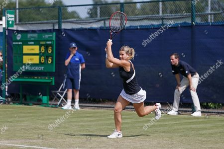 Jana Fett (CRO) tries in vain to defend a set point for Vera Lapko (BLR) in their Women's Singles First Round match at the 2018 Nature Valley Open at Nottingham Tennis Centre, Nottingham. Picture by Katy Blackwood