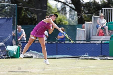 Irina Falconi (USA) serves to Anastasia Rodionova (AUS) during their match at the 2018 Nature Valley Open at Nottingham Tennis Centre, Nottingham. Falconi won through qualifying to meet Rodionova in the Women's Singles First Round. Picture by Katy Blackwood