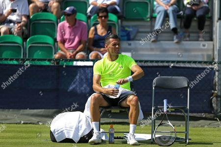 Tobias Kamke (GER) in his chair during his Men's Singles qualifying final round match against Edward Corrie (GBR) at the 2018 Nature Valley Open at Nottingham Tennis Centre, Nottingham. Picture by Katy Blackwood