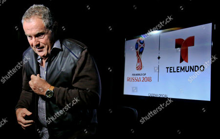 Stock Picture of Andr's Cantor. Argentine sportscaster and legendary Telemundo soccer broadcaster Andres Cantor leaves after an interview about his 2018 World Cup assignment, in New York