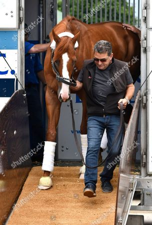 Assistant trainer Jimmy Barnes leads Triple Crown winner Justify from his transport on the backside at Churchill Downs, in Louisville, Ky