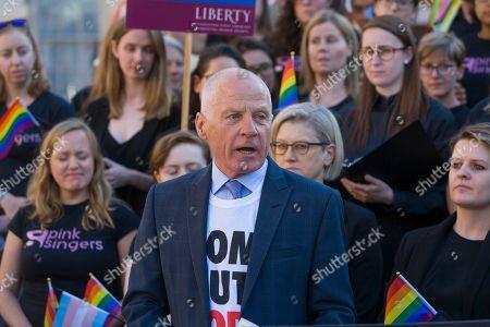 Editorial image of LGBT 'Super Choir' performs outside Parliament, London, UK - 11 Jun 2018