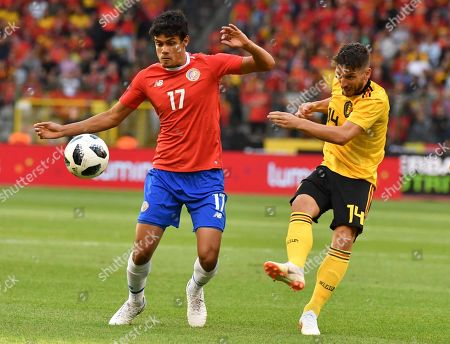 Belgium's Dries Mertens, right, kicks the ball against Costa Rica's Yeltsin Tejeda during a friendly soccer match between Belgium and Costa Rica at the King Baudouin stadium in Brussels