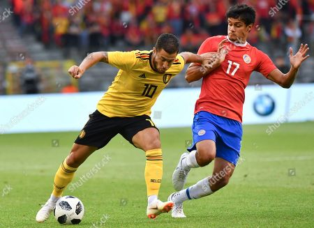 Belgium's Eden Hazard, left, vies for the ball with Costa Rica's Yeltsin Tejeda during a friendly soccer match between Belgium and Costa Rica at the King Baudouin stadium in Brussels