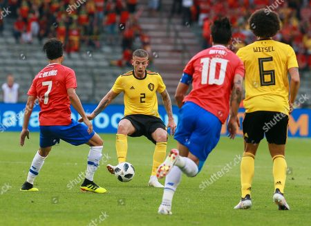 Christian Bolanos of Costa Rica, Toby Alberweireld of Belgium, Bryan Ruiz of Costa Rica and Axel Witsel of Belgium in action during a friendly soccer match between Belgium and Costa Rica at the King Baudouin stadium in Brussels, Belgium, 11 June 2018.