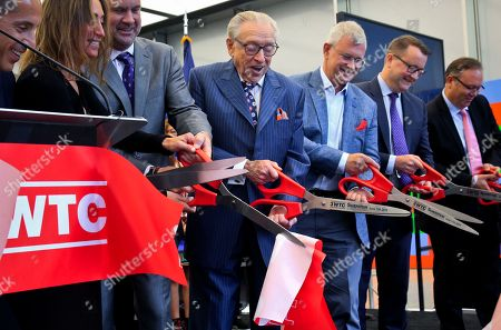 3 World Trade Opening. Silverstein Properties Chairman Larry Silverstein, center, participates in a ribbon-cutting ceremony officially opening 3 World Trade Center, in New York