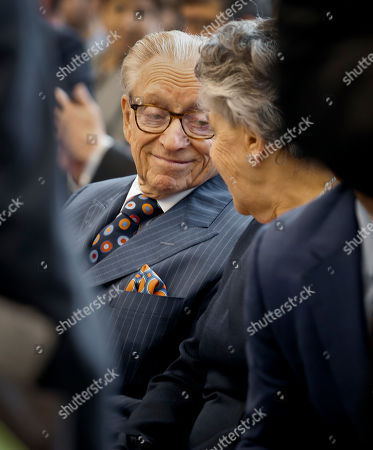 3 World Trade Opening. Silverstein Properties Chairman Larry Silverstein, left, listens to his wife Klara Silverstein during ribbon-cutting ceremony to officially open 3 World Trade Center, in New York