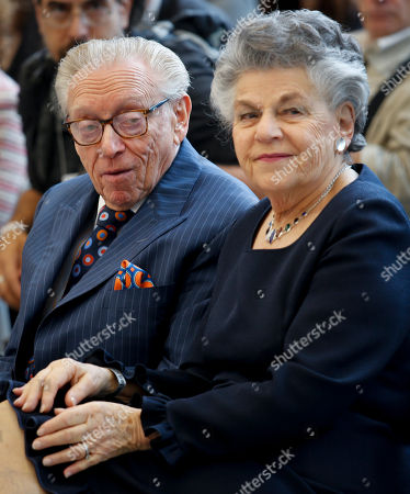 Stock Image of 3 World Trade Opening. Silverstein Properties Chairman Larry Silverstein, left, and his wife Klara Silverstein, seated together during ribbon-cutting ceremony to officially open 3 World Trade Center, in New York