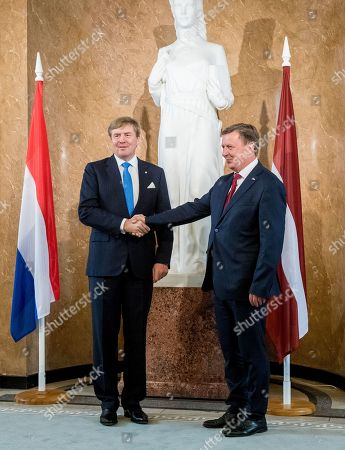 King Willem-Alexander of the Netherlands and Prime Minister Maris Kucinskis at the Cabinet of Ministers at Riga, Latvia, during his 5-day state visit to Latvia, Estonia and Lithuania.
