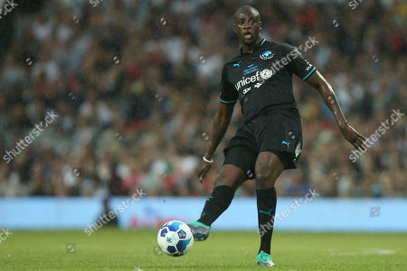 Yaya Toure in action on the pitch at Old Trafford as part of Unicef's Soccer Aid, Manchester