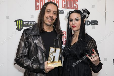 Andrea Ferro and Cristina Scabbia of Lacuna Coil with their award for Best Live Band