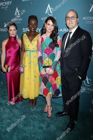 Stock Picture of Karen Giberson, President of The Accessories Council, Lupita Nyong'o, Micaela Erlanger and Frank Zambrelli, Chairman of The Accessories Council