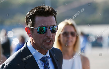 Stock Picture of Retired baseball player Nomar Garciaparra arrives at the Los Angeles Dodgers Foundation Blue Diamond Gala at Dodger Stadium, in Los Angeles