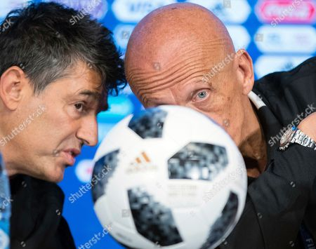 Pierluigi Collina, Massimo Busacca. Chairman of the FIFA Referees Committee Pierluigi Collina, right, and FIFA's Director of Refereeing Massimo Busacca talk during a news conference in Moscow, Russia, . The 21st World Cup begins on Thursday when the hosts Russia takes on Saudi Arabia
