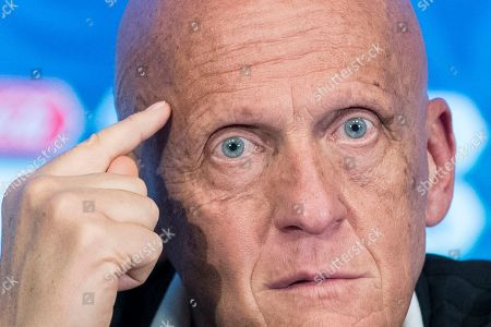 Chairman of the FIFA Referees Committee Pierluigi Collina gestures during a news conference in Moscow, Russia, . The 21st World Cup begins on Thursday, June 14, 2018, when the hosts Russia takes on Saudi Arabia