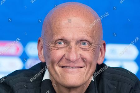 Chairman of the FIFA Referees Committee Pierluigi Collina smiles during a news conference in Moscow, Russia, . The 21st World Cup begins on Thursday, June 14, 2018, when host Russia takes on Saudi Arabia