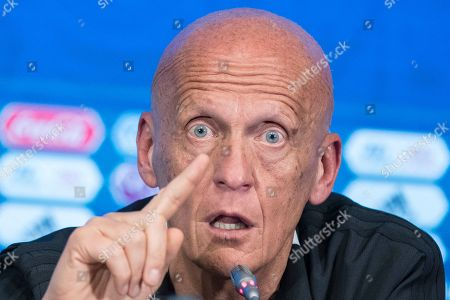 Chairman of the FIFA Referees Committee Pierluigi Collina gestures during a news conference in Moscow, Russia, . The 21st World Cup begins on Thursday, June 14, 2018, when host Russia takes on Saudi Arabia