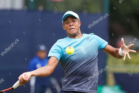 Jay Clarke (GBR) plays a shot during his Men's Singles First Round loss to Tobias Kamke (GER) at the 2018 Nature Valley Open at Nottingham Tennis Centre, Nottingham. Clarke, considered a promising young British talent, had a wildcard but lost to qualifier Kamke 6-3 6-3. Picture by Katy Blackwood