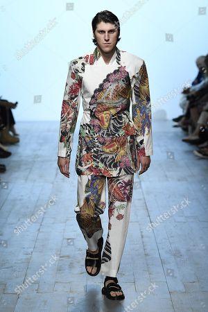 Editorial picture of Alex Mullins show, Runway, Spring Summer 2019, London Fashion Week Men's, UK - 10 Jun 2018