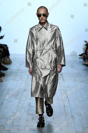 Editorial image of Alex Mullins show, Runway, Spring Summer 2019, London Fashion Week Men's, UK - 10 Jun 2018
