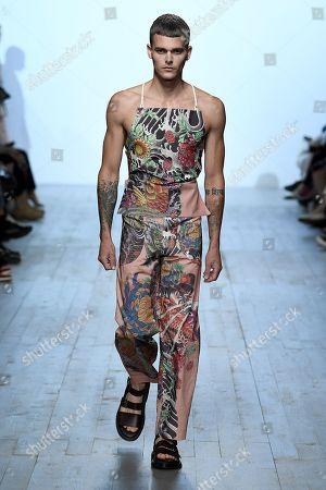 Editorial photo of Alex Mullins show, Runway, Spring Summer 2019, London Fashion Week Men's, UK - 10 Jun 2018