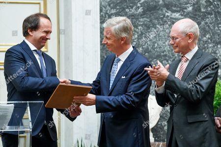Stock Image of King Philippe / Professor Frank Verstraete of the University of Ghent / Herman Van Rompuy