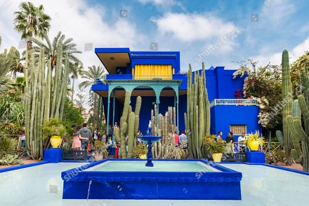 Blue House in the Jardin Majorelle Botanical Garden, Moorish architecture, former owners Yves Saint-Laurent and Pierre Berge, Marrakech, Morocco