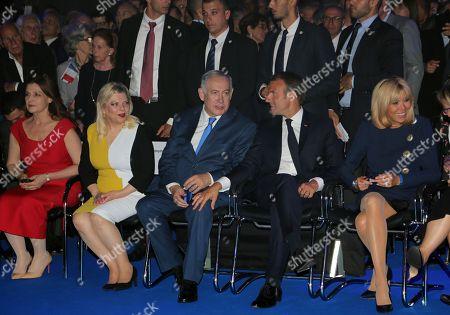 Benjamin Netanyahu ; Emmanuel Macron ; Brigitte Trogneux ; Sara Ben-Artzi ; Aliza Bin-Noun