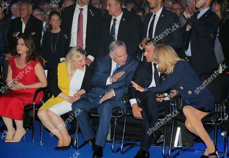 Stock Picture of Benjamin Netanyahu ; Emmanuel Macron ; Brigitte Trogneux ; Sara Ben-Artzi ; Aliza Bin-Noun
