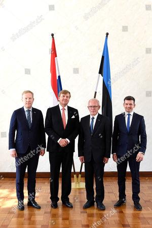 Estonion Parliament Speaker Eiki Nestor receives King Willem-Alexander at Riigikogu (Parliament), Toompea in Tallinn Estonia, on day 2 of the 5-day state visit to Latvia, Estonia and Lithuania.