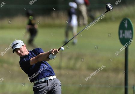 Cole Miller hits off the eighth tee during a practice round for the U.S. Open Golf Championship, in Southampton, N.Y