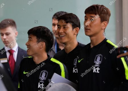Go Yo-han, Lee'Yong, Jung Woo-young. South Korea's national soccer team players Go Yo-han, front left, Lee Yong, center, and Jung Woo-young arrive at the team hotel for the 2018 soccer World Cup in St. Petersburg, Russia