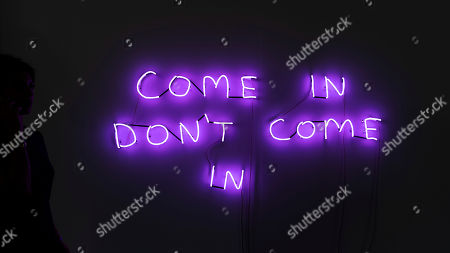 """The artwork """"Come In Don't Come In"""" (2018) by British artist David Shrigley is on display at the international art show Art Basel, in Basel, Switzerland, 12 June 2018."""