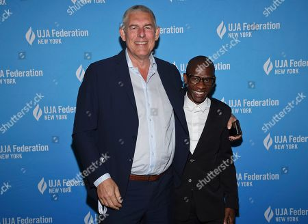 Lyor Cohen, Troy Carter. Music executive Lyor Cohen, left, poses with honoree Troy Carter, Spotify's global head of creator services, at the UJA-Federation of New York's Music Visionary of the Year award luncheon at The Pierre, in New York
