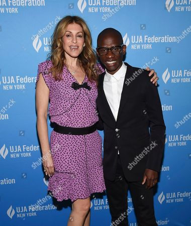 Julie Greenwald, Troy Carter. Chairman/COO of Atlantic Records, Julie Greenwald, left, poses with honoree Troy Carter, Spotify's global head of creator services, at the UJA-Federation of New York's Music Visionary of the Year award luncheon at The Pierre, in New York