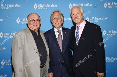 Stock Image of Joel Katz, Neil Portnow, Cary Sherman. Music executive Joel Katz, left, president and CEO of The Recording Academy Neil Portnow and CEO of the Recording Industry Association of America Cary Sherman attend the UJA-Federation of New York's Music Visionary of the Year award luncheon at The Pierre, in New York