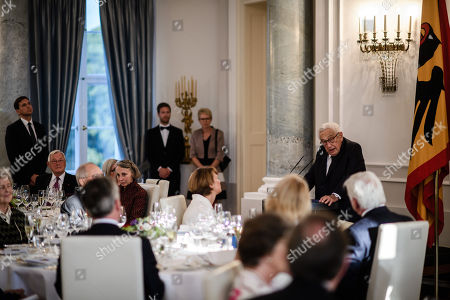 Former US Secretary of State Henry Kissinger (2-R) speaks next to German President Frank-Walter Steinmeier (R) during a dinner in honor of former US Secretary of State Henry Kissinger at Bellevue Palace in Berlin, Germany, 12 June 2018. Henry Kissinger, who was Secretary of State in the era of US Presidents Richard Nixon and Gerald Ford, turned 95 on 27 May 2018.