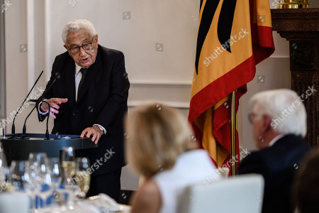 Former US Secretary of State Henry Kissinger (L) speaks next to German President Frank-Walter Steinmeier (R) during a dinner in honor of former US Secretary of State Henry Kissinger at Bellevue Palace in Berlin, Germany, 12 June 2018. Henry Kissinger, who was Secretary of State in the era of US Presidents Richard Nixon and Gerald Ford, turned 95 on 27 May 2018.