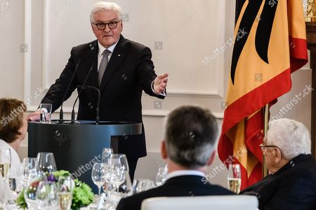 German President Frank-Walter Steinmeier (L) speaks next to Former US Secretary of State Henry Kissinger (R) during a dinner in honor of former US Secretary of State Henry Kissinger at Bellevue Palace in Berlin, Germany, 12 June 2018. Henry Kissinger, who was Secretary of State in the era of US Presidents Richard Nixon and Gerald Ford, turned 95 on 27 May 2018.