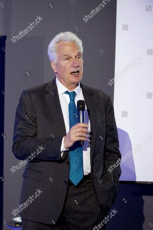 Stock Picture of Cyber security company BlueVoyant co-founder and Executive Director Jim Rosenthal delivers a speech during a presentation of the company's approach on cybernetics threats in Madrid, Spain, 12 June 2018.